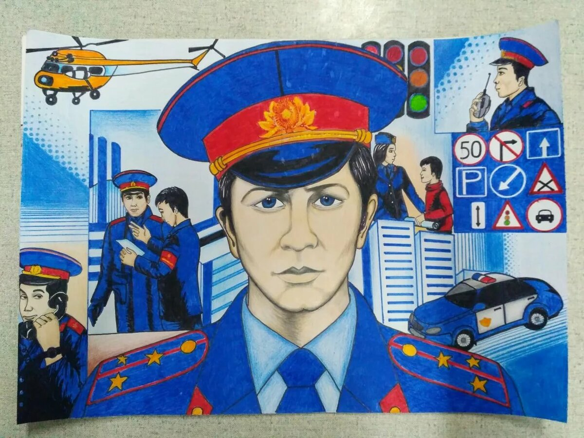 Картинки с полицейским нарисованные