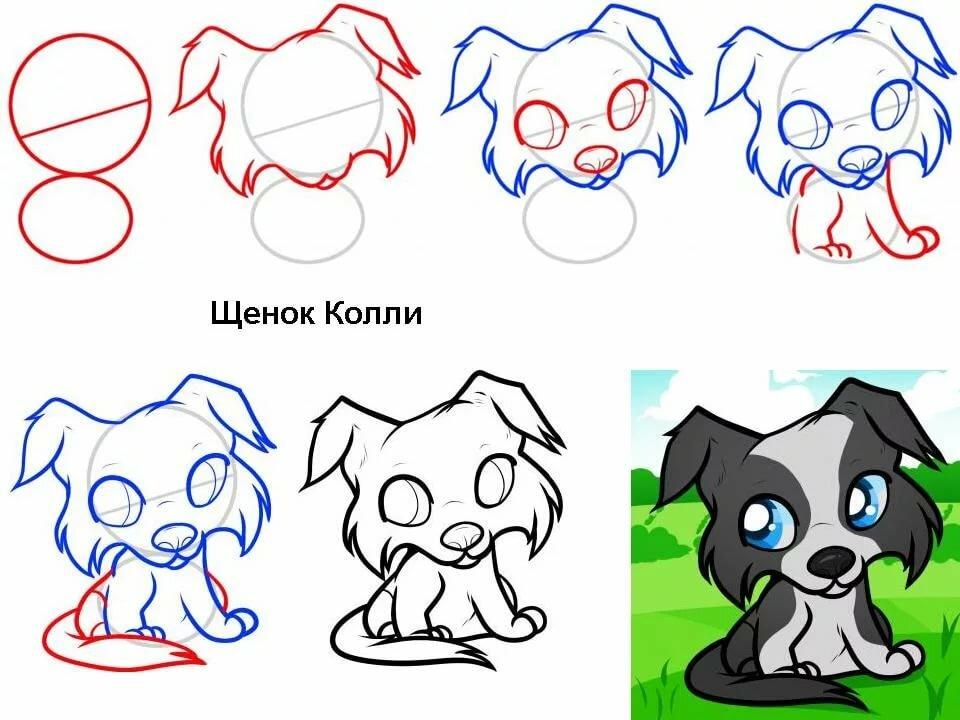 Картинки как нарисовать собаку или щенка