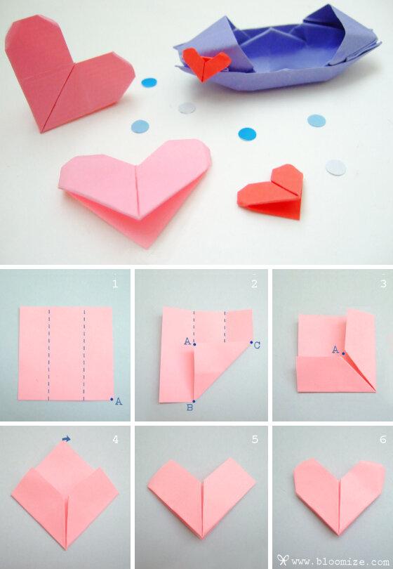 Как сделать открытку сердечко оригами