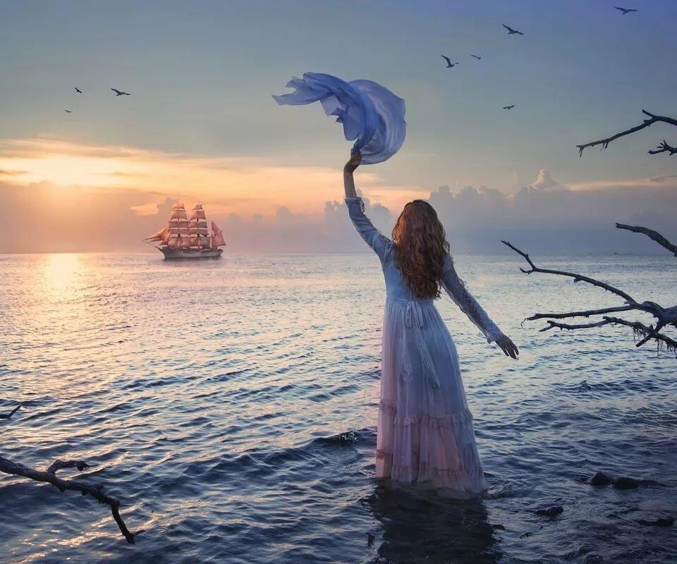 что картинка ждет на берегу моря том, как сделать