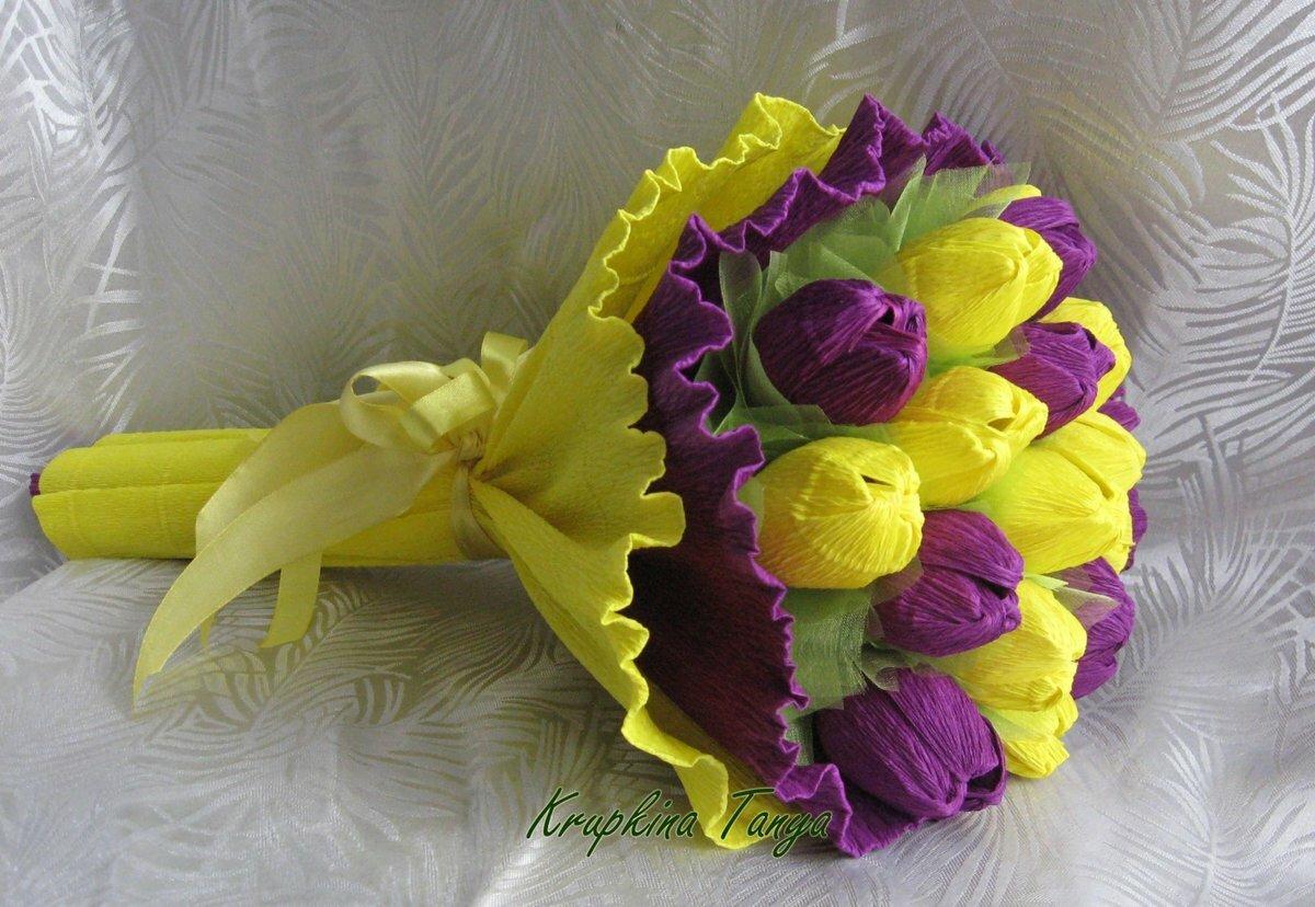 букеты цветов из бумаги с конфетами своими руками
