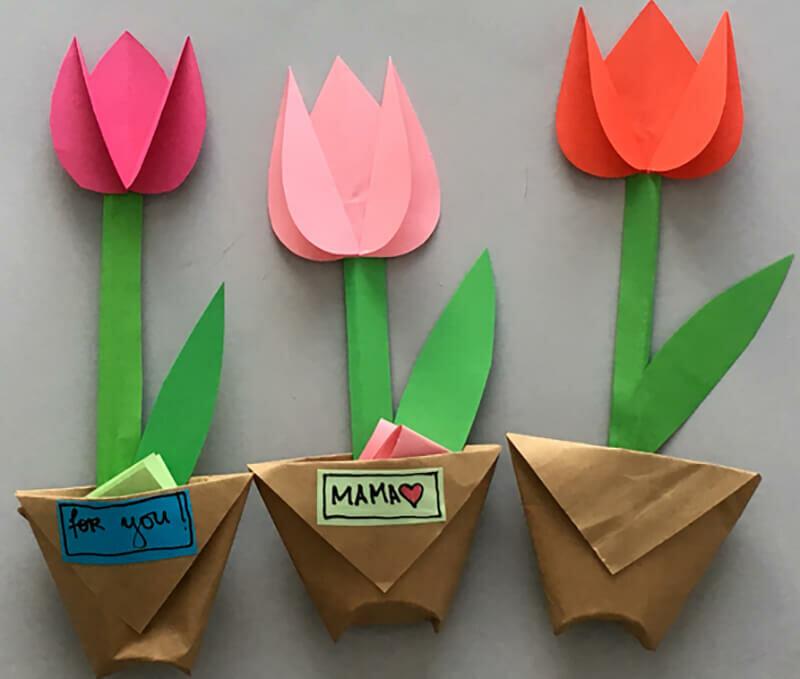 Тюльпаны на открытку своими руками из бумаги