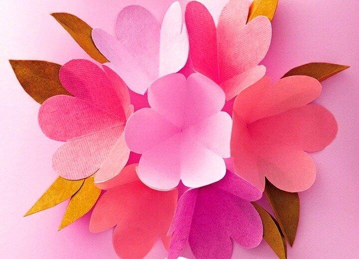 Бывшему мужу, сделать цветочки на открытку из бумаги
