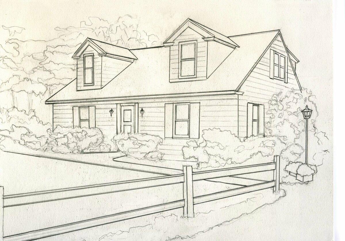 Картинки домика для срисовки