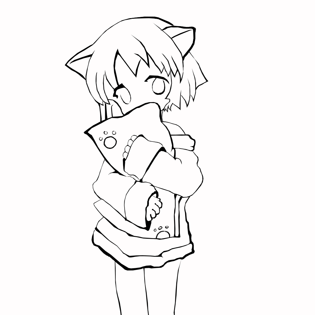 Рисунки аниме котики девочки карандашом