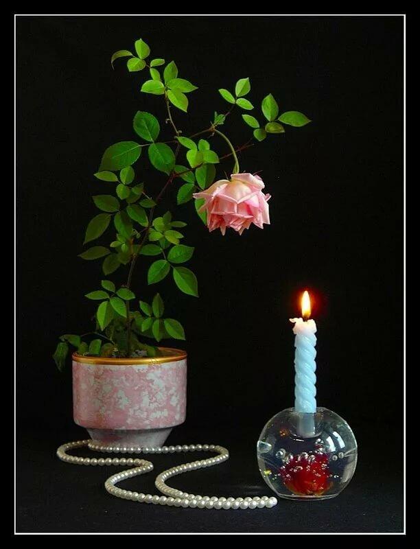 Картинки добрый вечер розы свечи