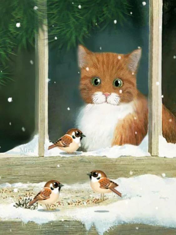 гифка для кошки с птичками вдохновит