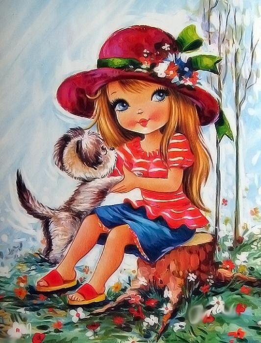 Целуются, веселая девочка открытка