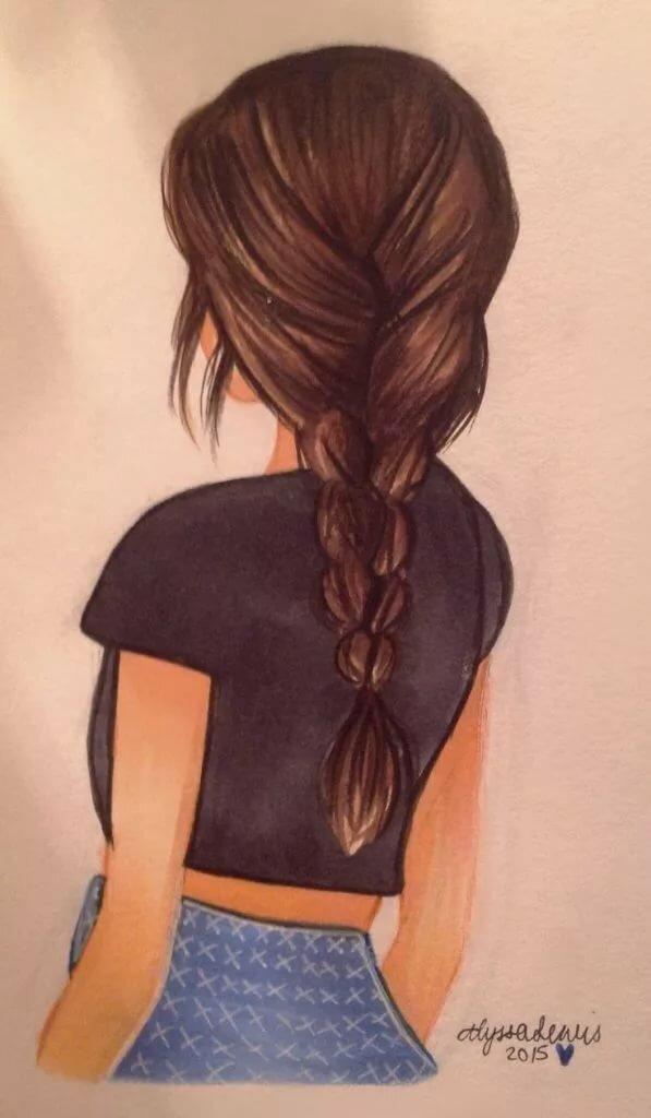 Картинки девушек со спины для срисовки, открыток лет