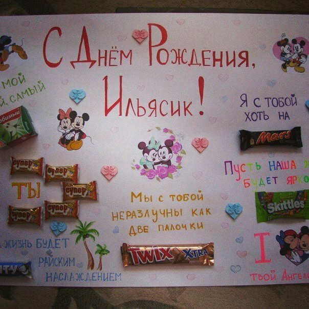 Картинки плакат на день рождения с шоколадками и надписями
