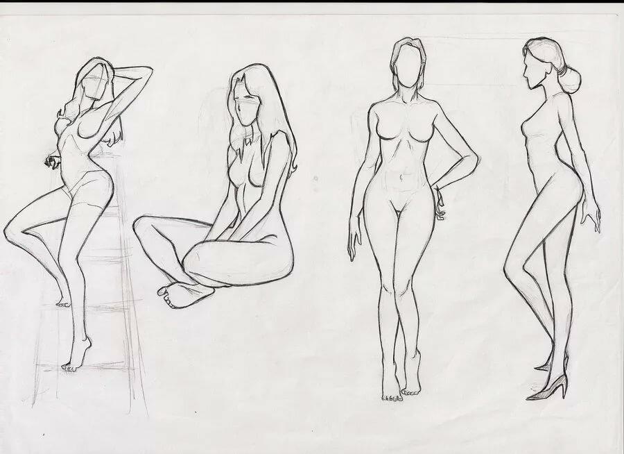 Girl naked full body drawing — photo 6