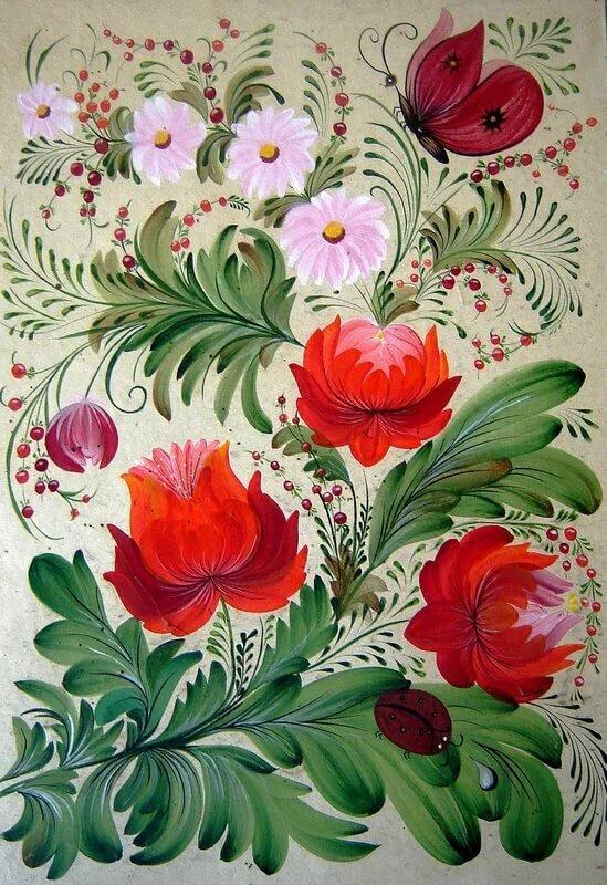 Петриковская роспись картинки цветы