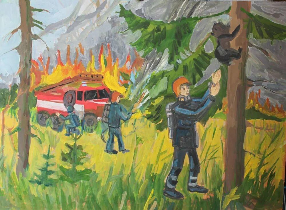 картинки о пожаре глазами