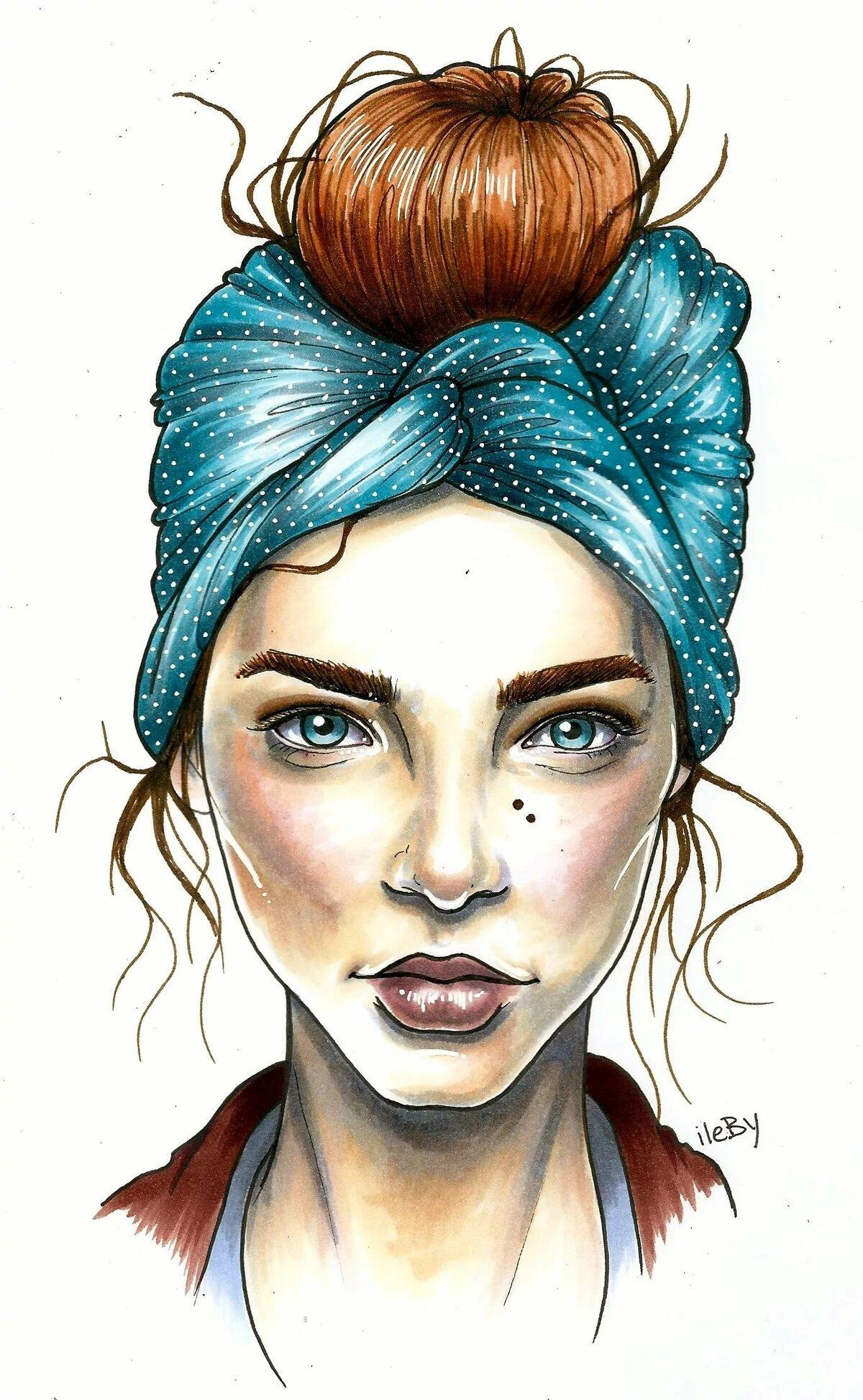 Картинка лицо девушки нарисованные, днем
