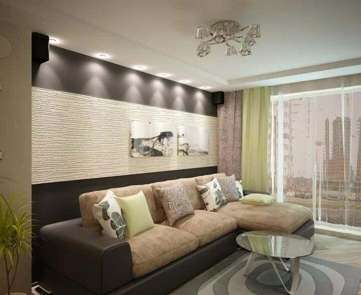 дизайн зала в двухкомнатной квартире фото упор