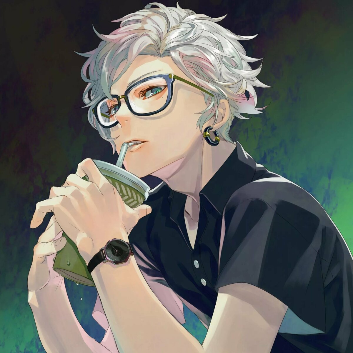 Картинка аниме парень в очках