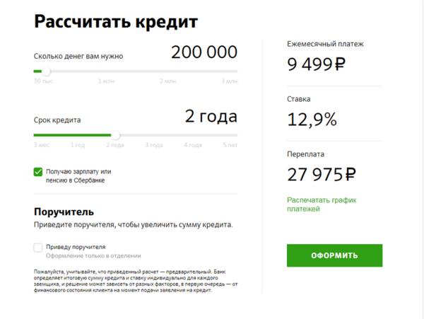 Взять кредит 200000 сбербанк