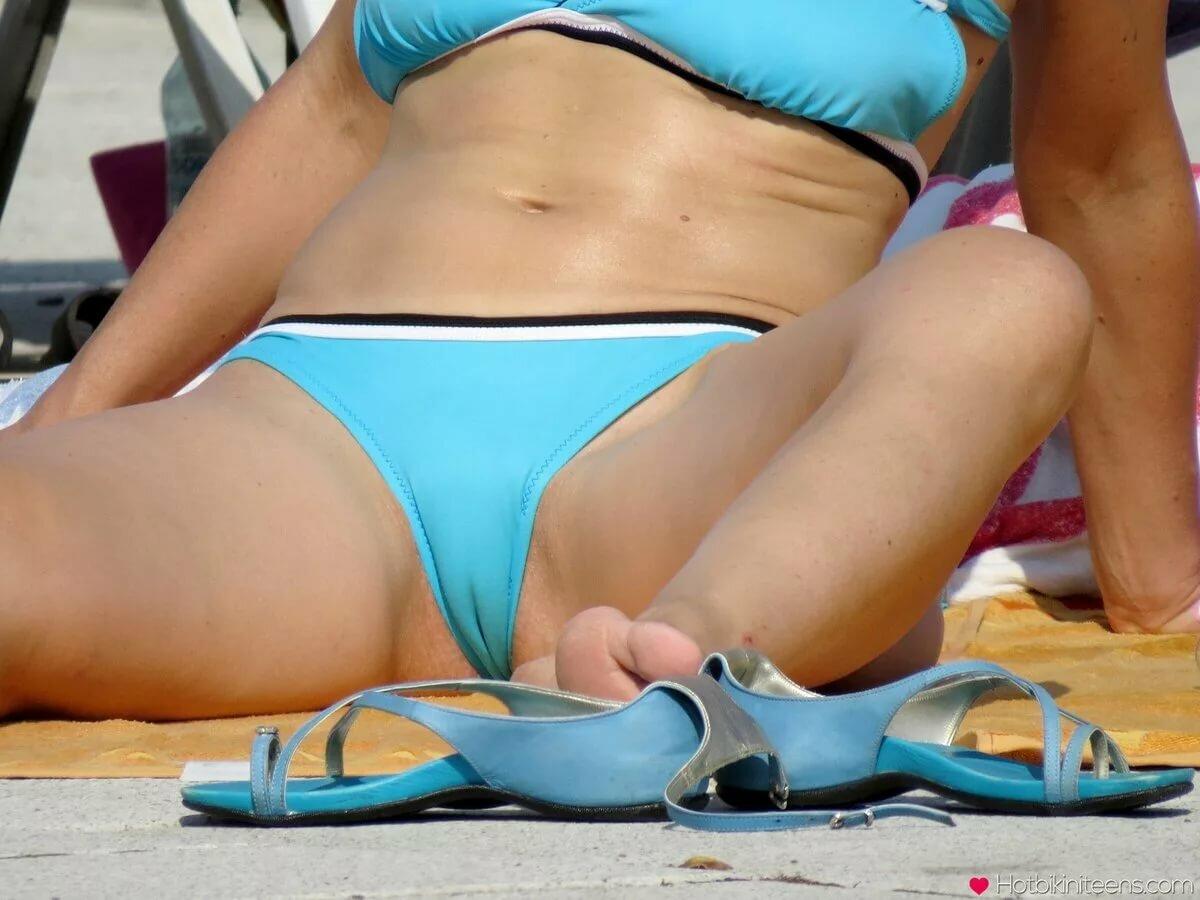 Bikini panty crotch on beach, mom love pussy