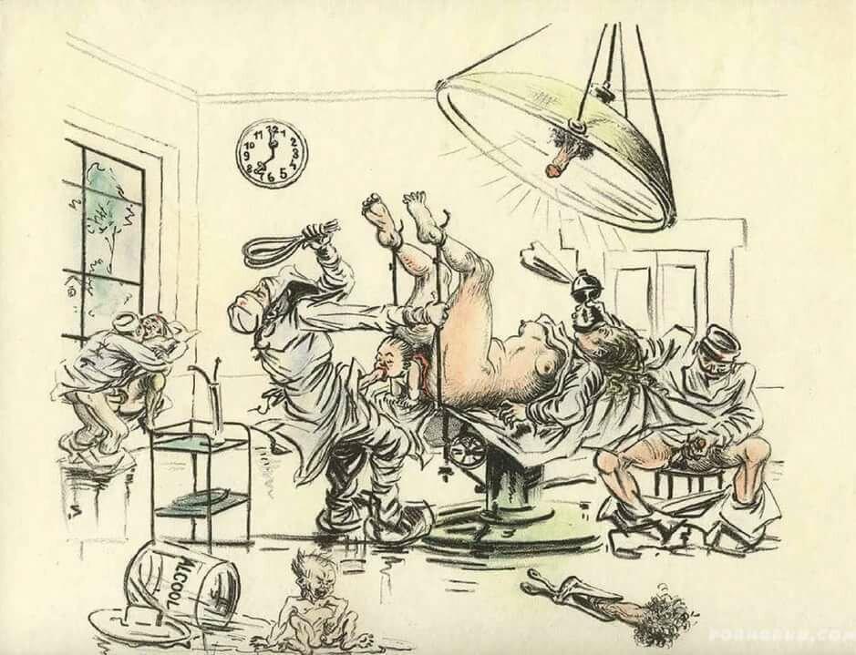Секс в карикатуре, девушки в гостях у гинеколога