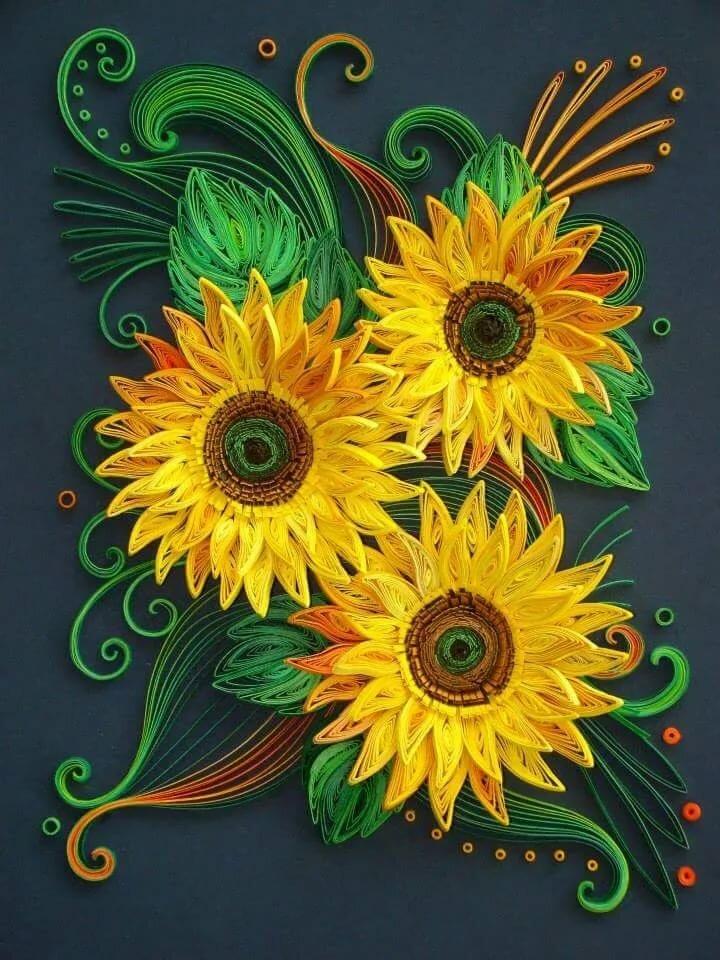 Квиллинг подсолнухи открытка, поздравительные день