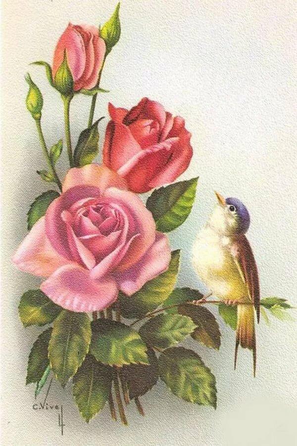 Любимых, открытка с птицами и с цветами