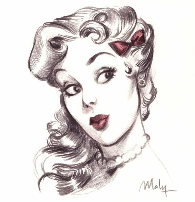 рэтиган винтаж рисунки карандашом мамы