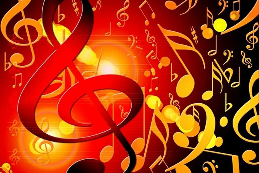 Сменной картинкой, на открытке музыке