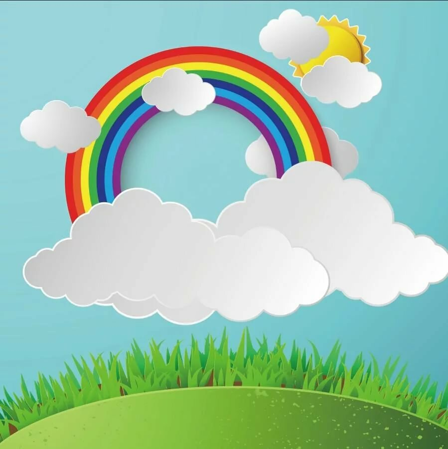 картинки с радугой и солнцем и детьми праздничное блюдо