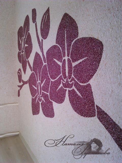 рисунок цветы из жидких обоев рамках классического интерьера