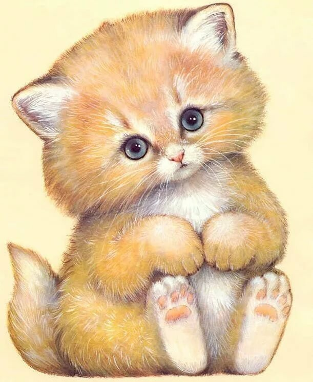 Картинки котята красивые нарисованные