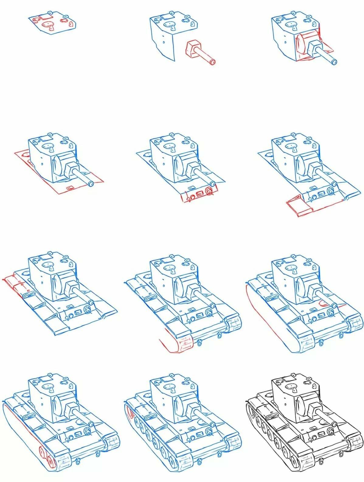 картинки танка поэтапно для начинающих сигареты