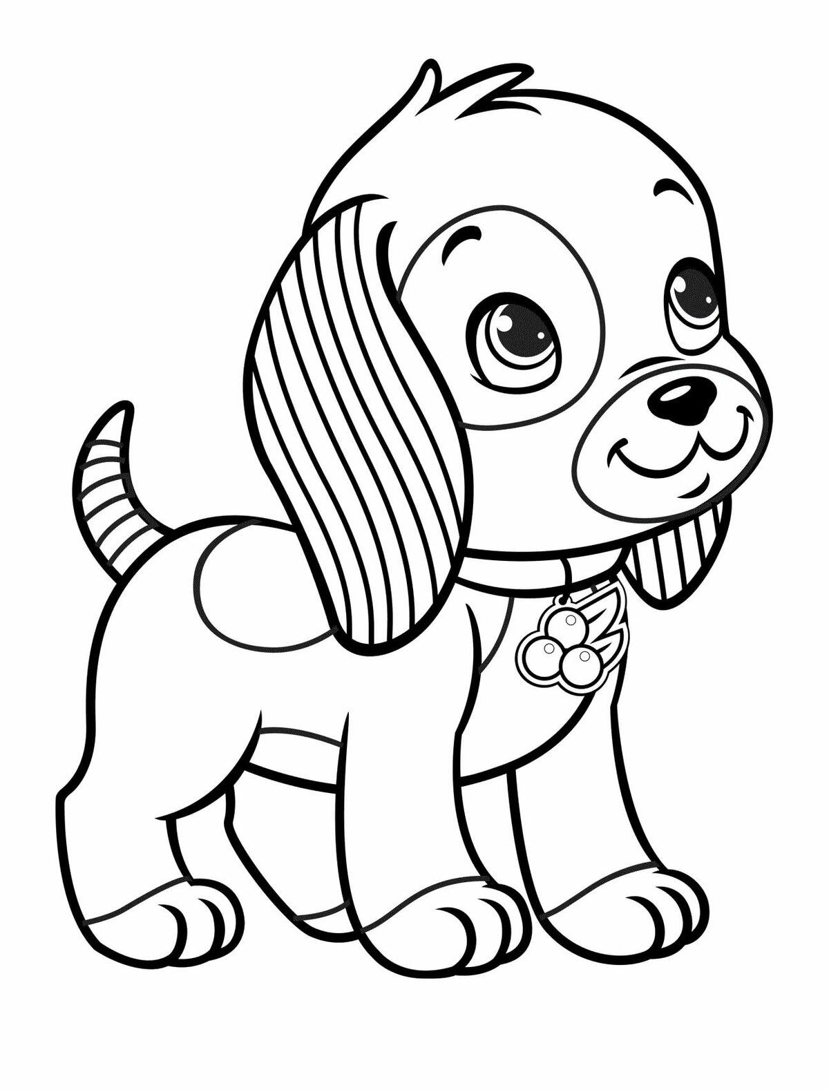 Открытка раскраски, картинки с собачками для раскрашивания распечатать