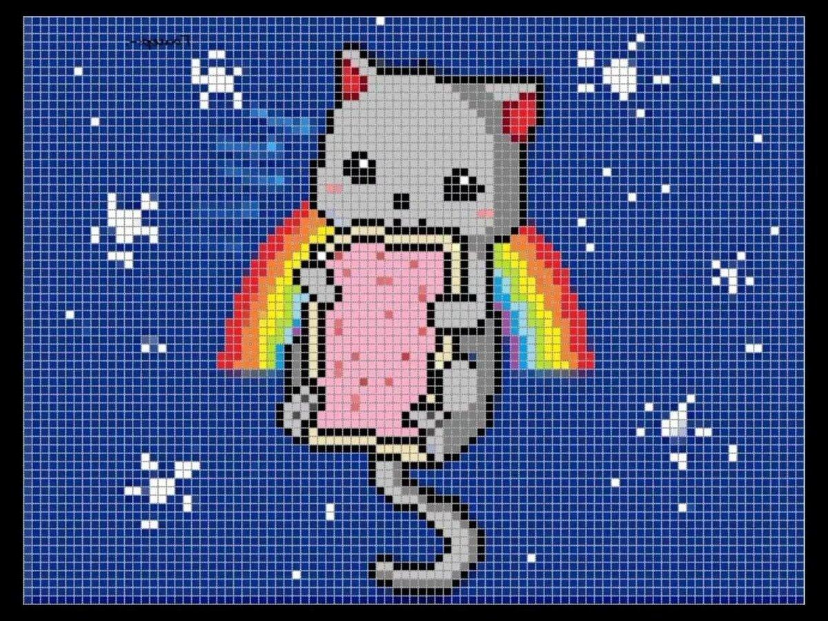 между рисунки по клеточкам цветные картинки с котиками что пора рушить