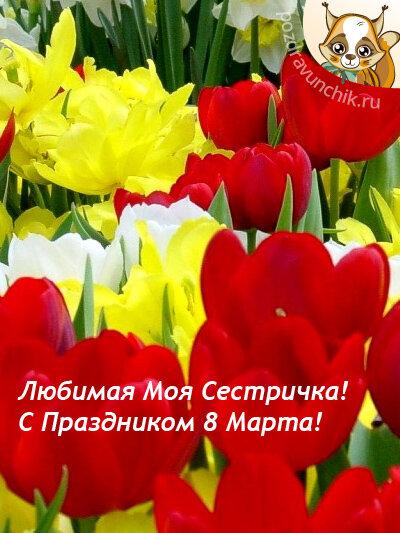 С 8 марта открытки сестренка
