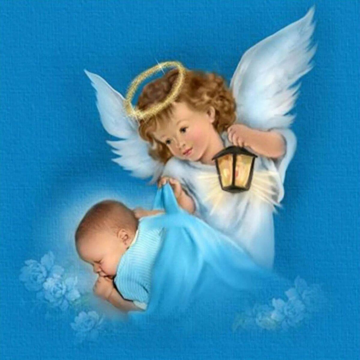 Открытка с крестинами малыша