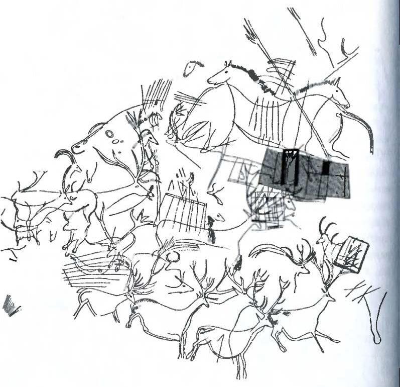 Пещера Ласко. Изображения из Апсиды. Прорисовка