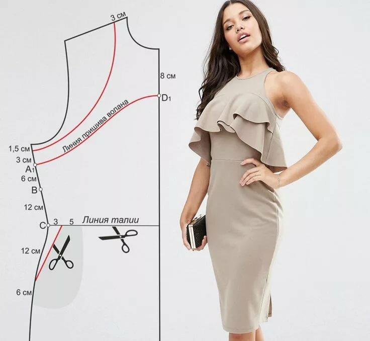 выкройки платья с одним рукавом фото фирменный