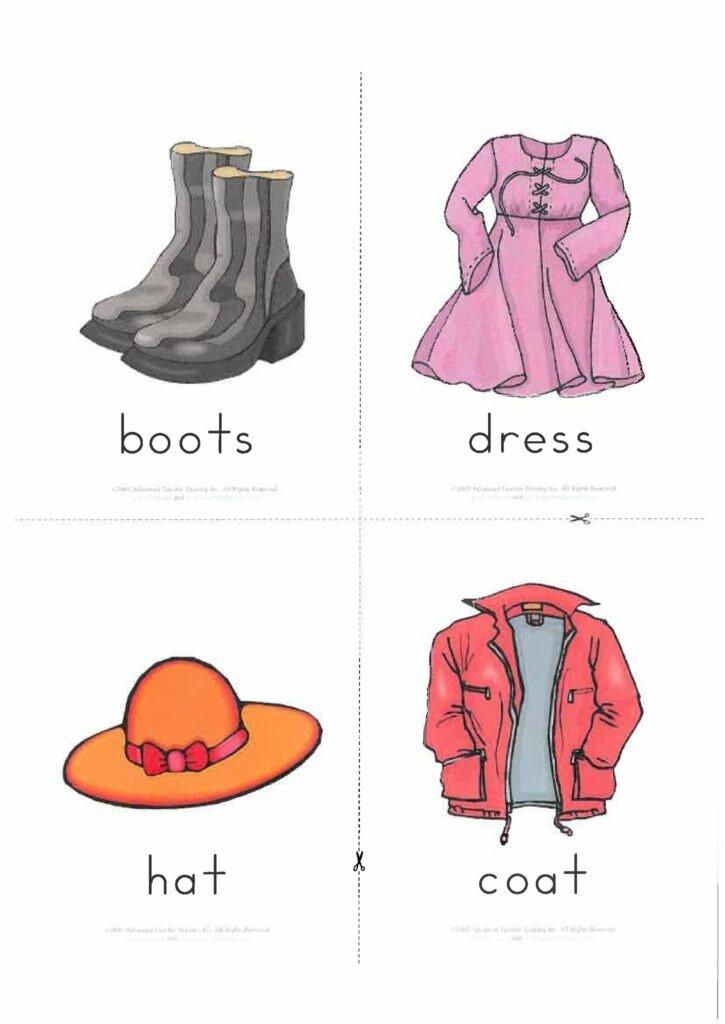 Картинки с одеждой для детей на английском