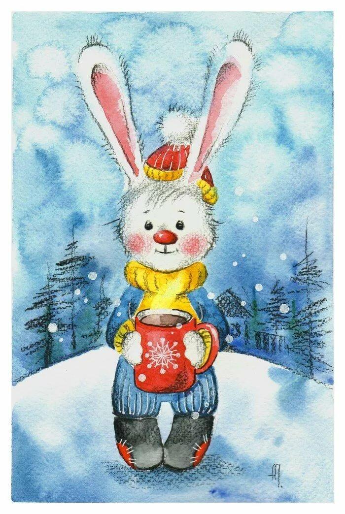 Новогодняя открытка зайки