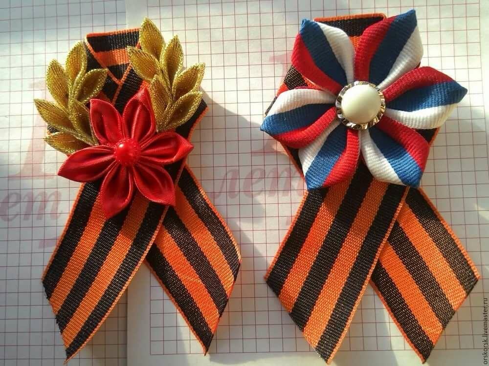 Георгиевская ленточка канзаши фото