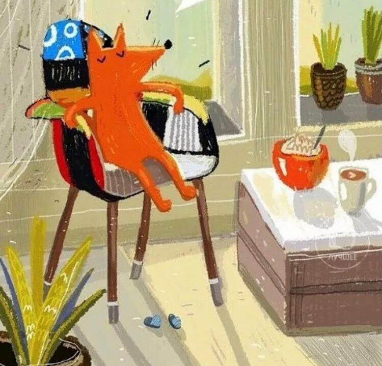 Картинка доброго утра лисы смешная с завтраком, поздравляю рождеством