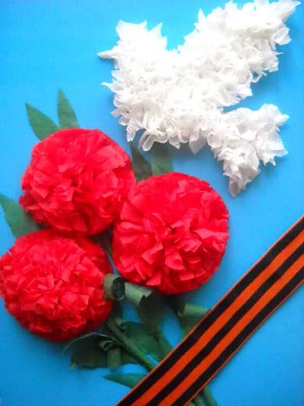 Открытка на 9 мая своими руками цветы