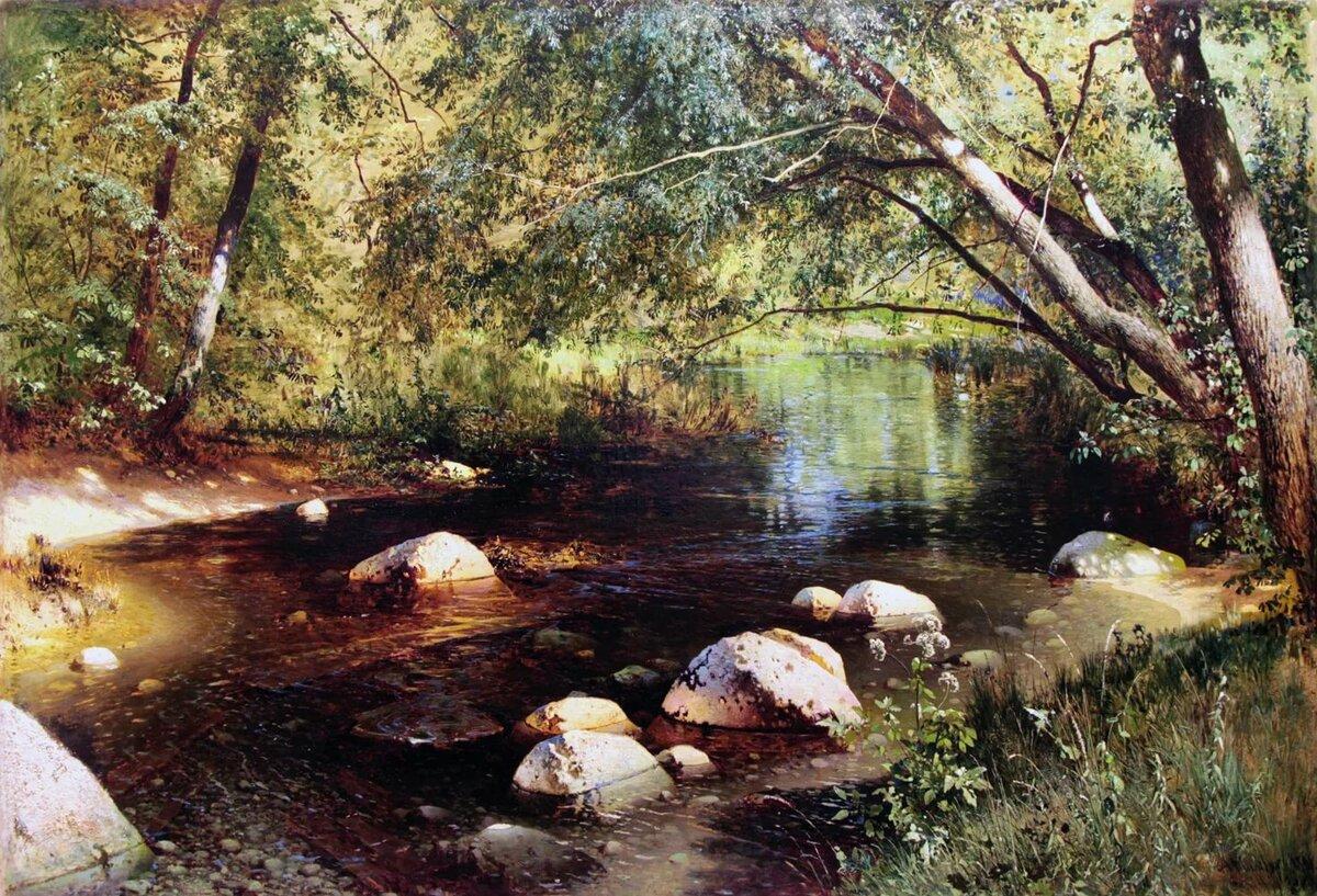 картина ручей в лесу шильдера капота виниловой плёнкой