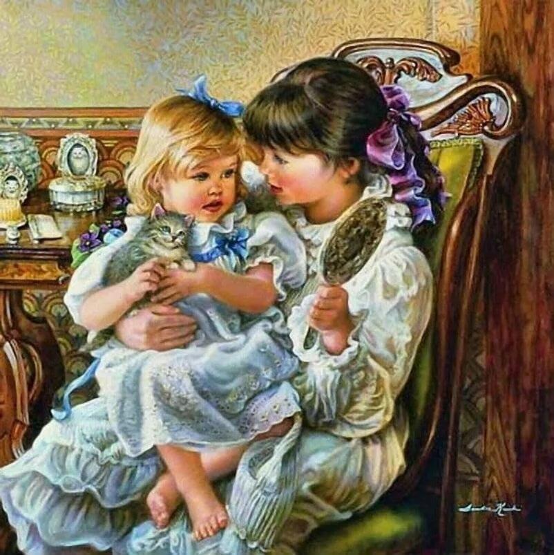 Открытка две дочери