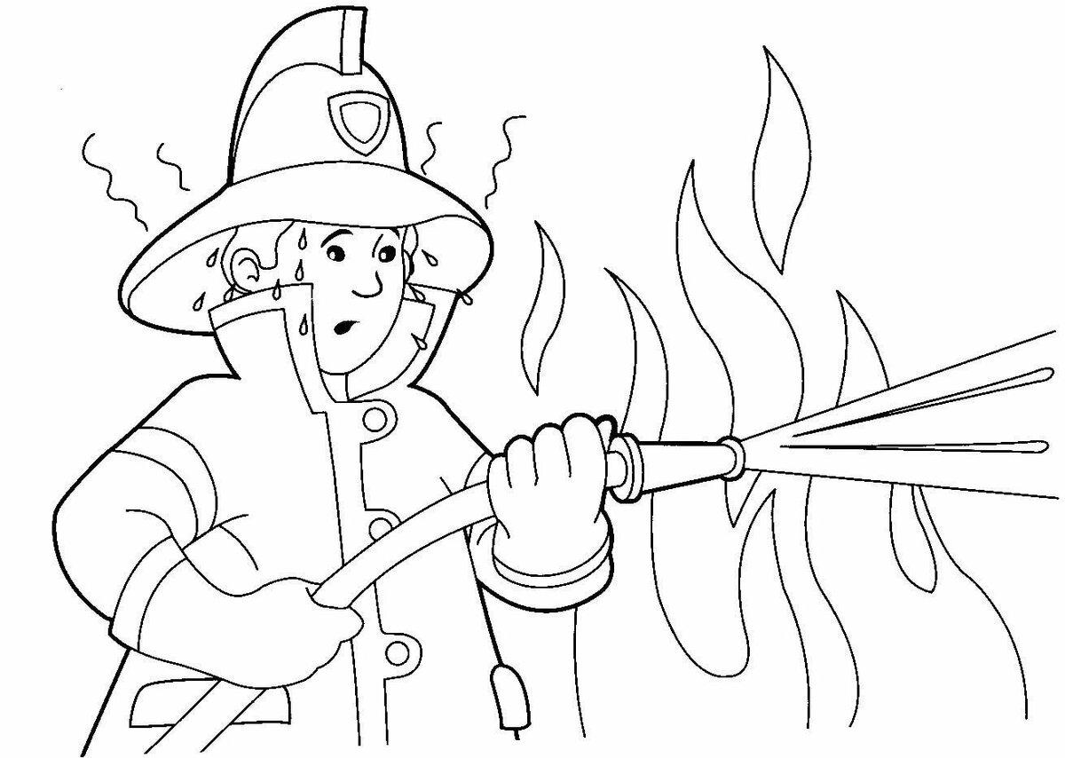 Раскраска пожарника картинки