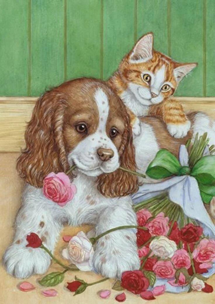 Открытка котенок с щенком, мужчина
