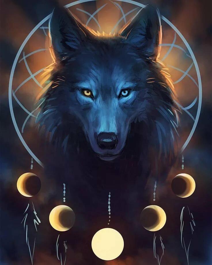 хмурое мистические арты волков жизни листья
