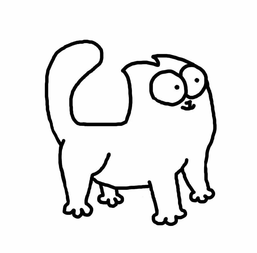 черно-белые картинки для распечатки кот саймон позже покажу