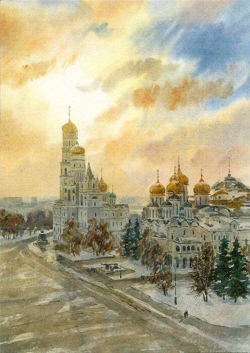 Москва акварель открытки