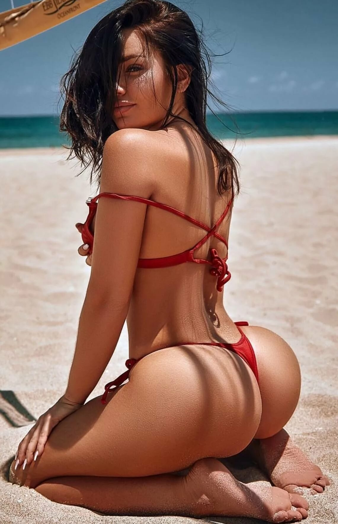 Girls brunette bikini butt